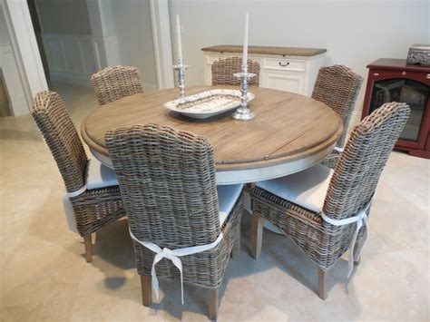 60 quot dining table with grey wicker chairs