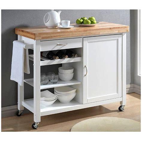 denver white modern kitchen cart with butcher block top in