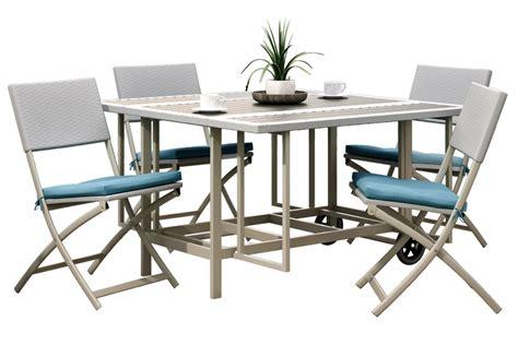 nantucket 5 stowable folding patio dining set