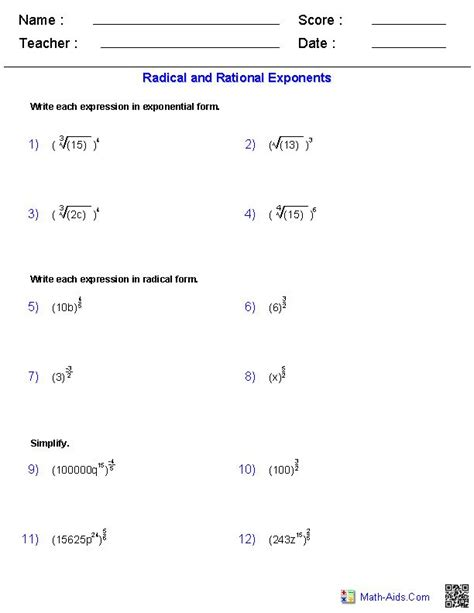 radical and rational exponents worksheets math aids com