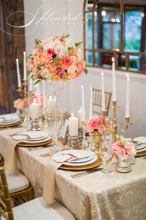 elegant coral and gold wedding reception inspirations