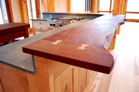 walnut  edge countertop features butterfly joints