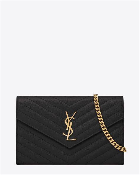 saint laurent monogram saint laurent chain wallet  black grain de poudre textured matelasse
