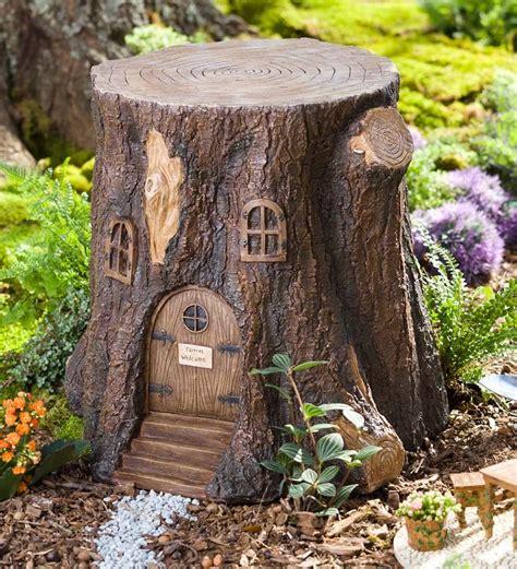 whimsical garden tree stump stool miniature
