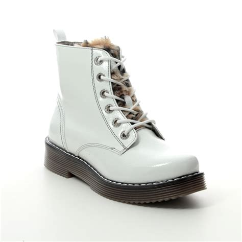 Bugatti shoes are popular for their contemporary detailing and comfort. Bugatti Neria Marten 43254932-2060 White patent ankle boots