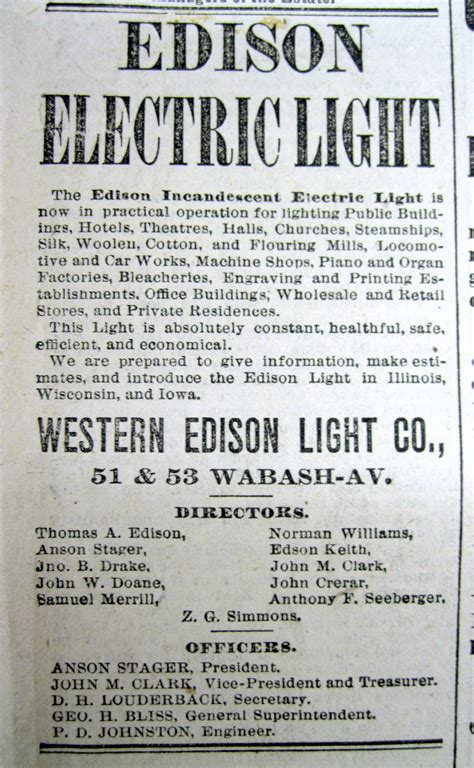 Edison Electric Light Company by 1882 Newspaper Edison Invents Electric Light Forms