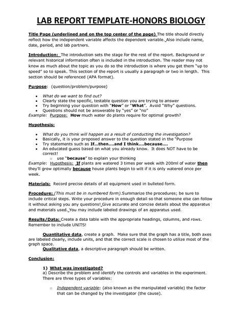 chs hbio lab report template biology lab report lab