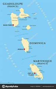 Guadeloupe  Dominica And Martinique Political Map  U2014 Stock