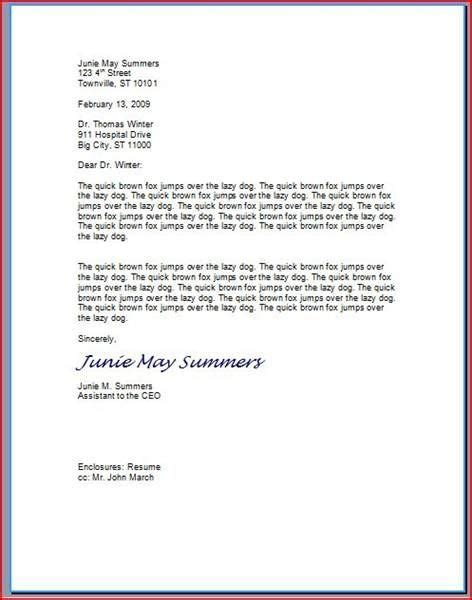 type  professional letter