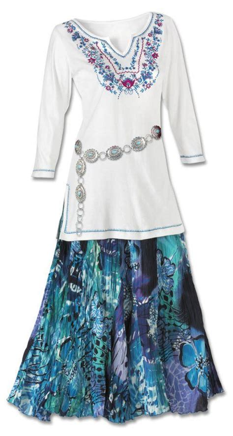 floral embroidered tunic watercolor skirt set