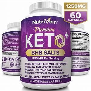 Nutrivein Premium Keto Weight Loss Supplement  1250 Mg  60 Capsules