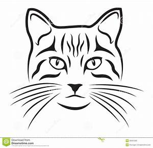 Cat, Face, Drawing, Outline