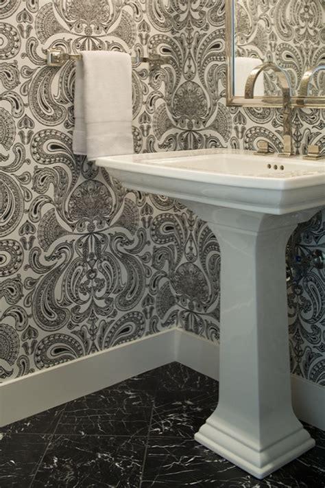 black  white flokced wallpaper transitional bathroom