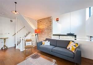 maison contemporaine salon avec mur en briques With deco mur brique salon