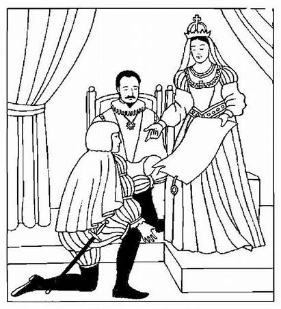 Queen Coloring King Columbus Spain Pages Princess