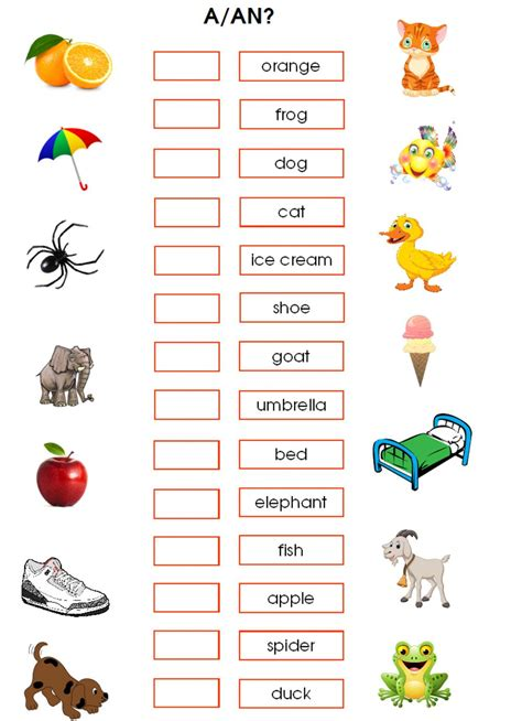 Indefinite articles: a-an - Interactive worksheet