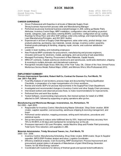 Inventory Planning Manager Resume by Rasor Resume 2012
