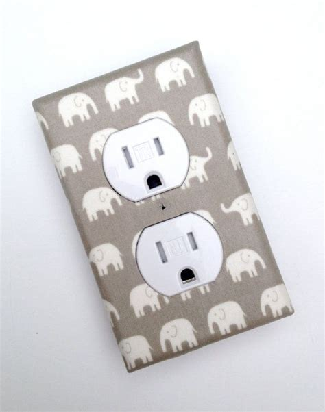 gray and white elephant nursery decor outlet plate cover