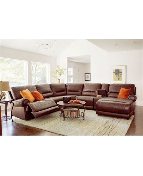 Living Room With Recliners by Macys Leather Sectional And With Power Recliners To Boot