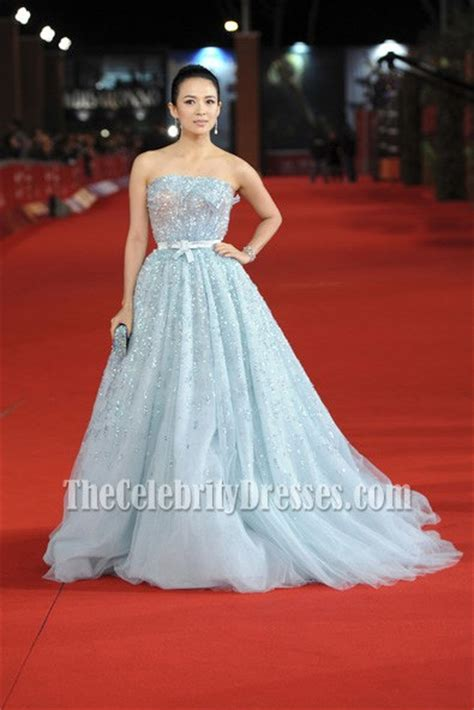 zhang ziyi blue beaded formal dress rome film festival