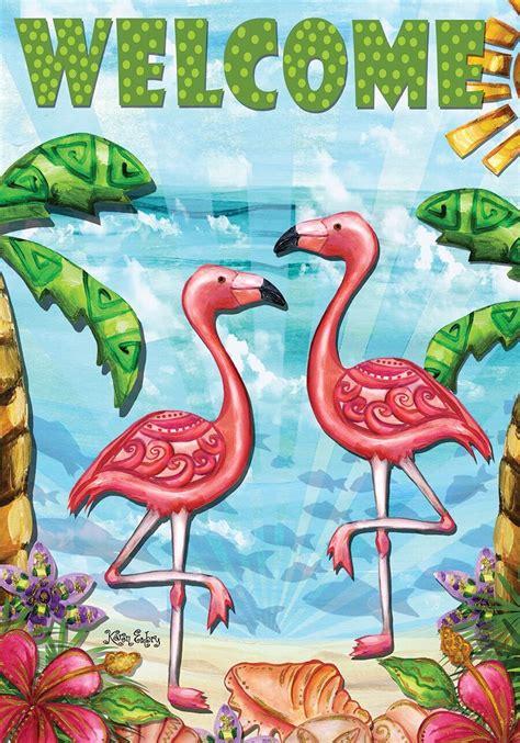 flamingo garden flags flamingo summer garden flag welcome tropical palm