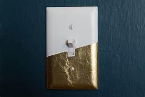 diy, gold, leaf, light, switch, cover