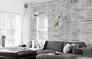 Deco Mural Salon : papier peint trompe l il pour une d co de style industriel ~ Teatrodelosmanantiales.com Idées de Décoration