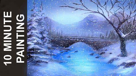 painting  winter wonderland landscape  acrylics