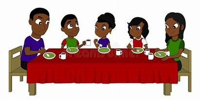 Cartoon Table Dining Eating African American Dinner
