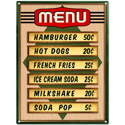 50s home decor diner menu prices metal sign kitchen wall decor