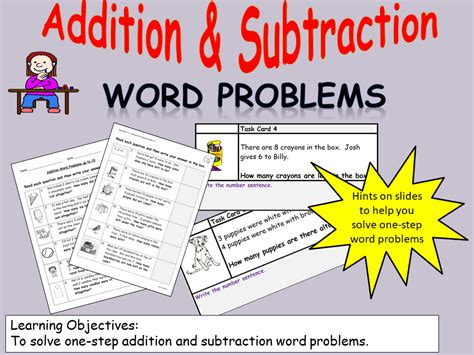 addition and subtraction one step word problems