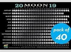 2019 Moon Calendar Card 40 pack Workman Publishing