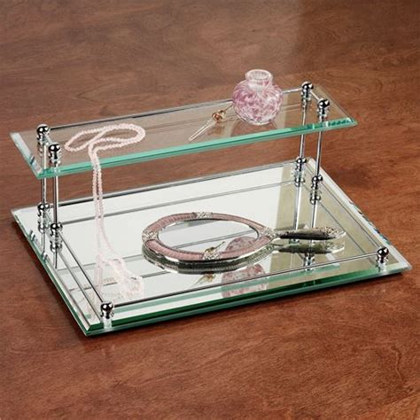 mirror vanity tray two tier glass mirrored valet vanity tray