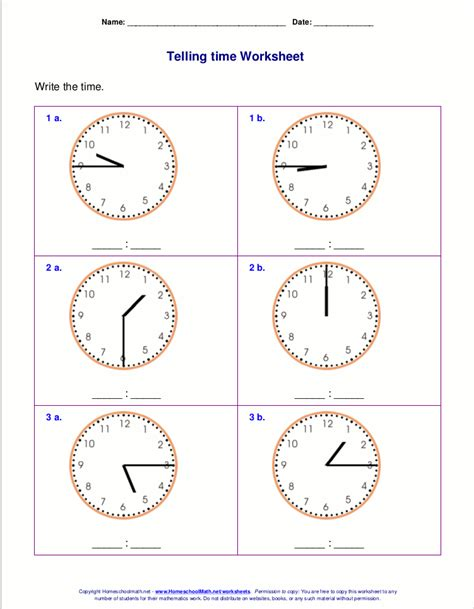 telling time worksheets   grade wra time