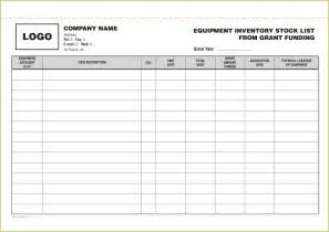 Equipment Inventory List Form Template