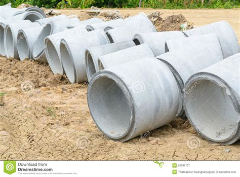 Stacked Concrete Culverts For Water Drainage Stock Photo