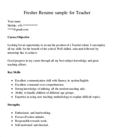 teaching fresher resume templates