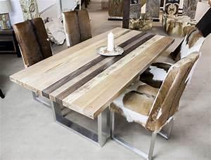 Rustikale Esstische Holz : esstisch aus massivholz mit edelstahl der tischonkel ~ Indierocktalk.com Haus und Dekorationen