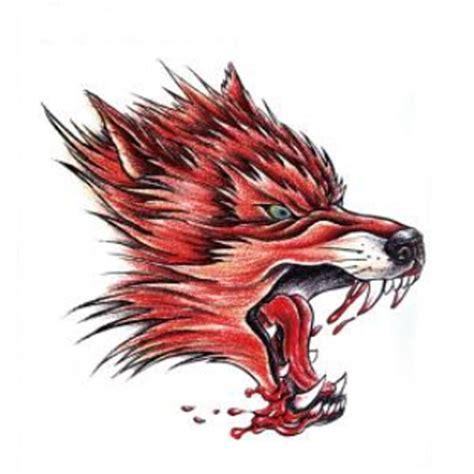 yctf printing temporary red wolf head tattoo transfer body