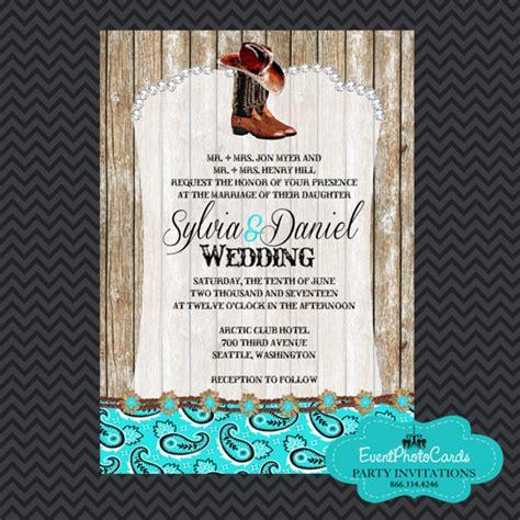 Western Boots Aqua Wedding Invitations Wedding Announcements