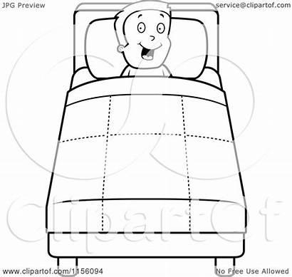 Bed Boy Cartoon Clipart Coloring Happy Into