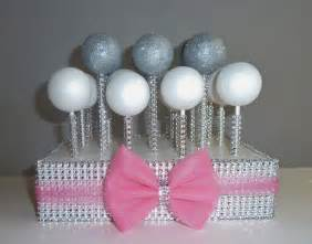 rhinestone cake stand cotton candy hot pink tulle bow silver bling cake pop stand