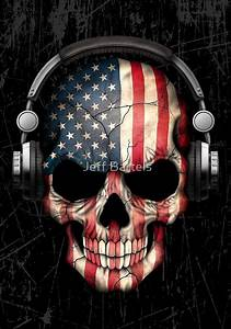 """""""Dj Skull with American Flag"""" by jeff bartels Redbubble"""