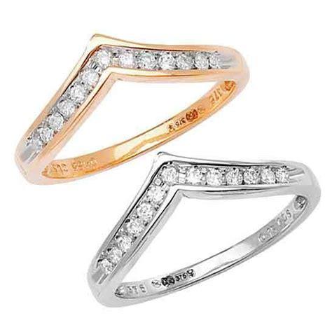 wishbone shaped 9ct white or 9ct yellow gold diamond 0 15ct wedding ring ebay