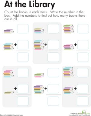 library addition adding book stacks worksheet education
