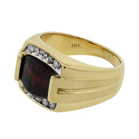 yellow gold diamond  garnet mens ring