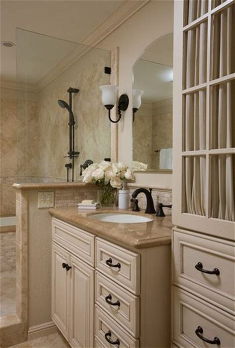 color scheme cream cabinets bronze fixtures darker
