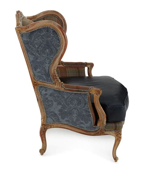 massoud blue leather wing chair