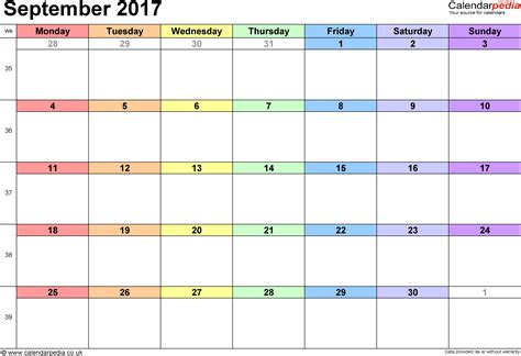 excel calendar template september 2017 calendar excel weekly calendar template