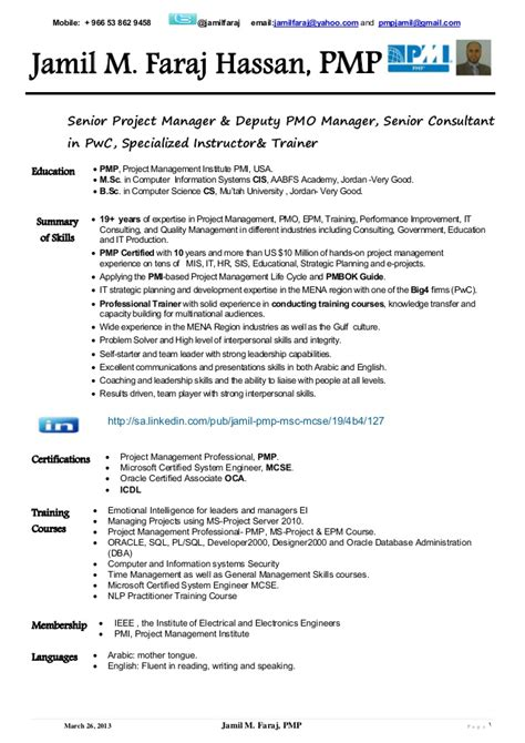 Sle Resume Of Pmp Certified Project Manager by Jamil Faraj Hassan Pmp Cv